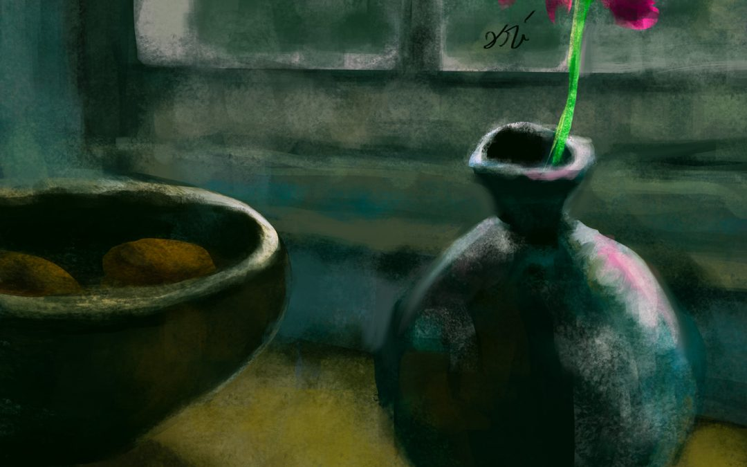 2017 01 31 Flower and bowl still life painting by Ori Bengal