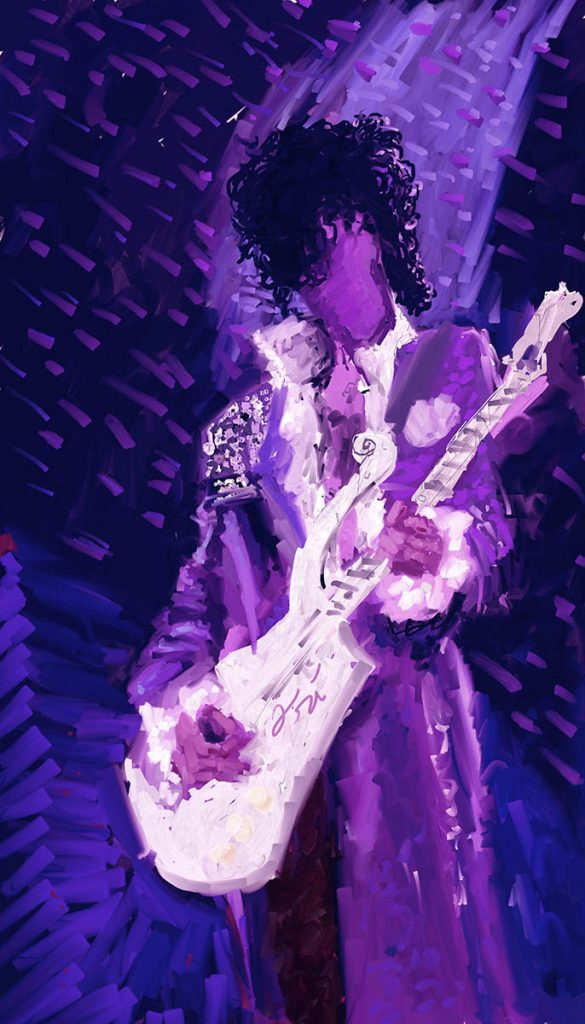 A purple memorial painting of Prince playing his guitar by Ori Bengal